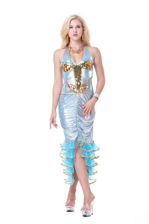 Ensen Sex style Blue mermaid dress The game uniform sexy adult costume fantasias feminina clothes Halloween cosplay costumes
