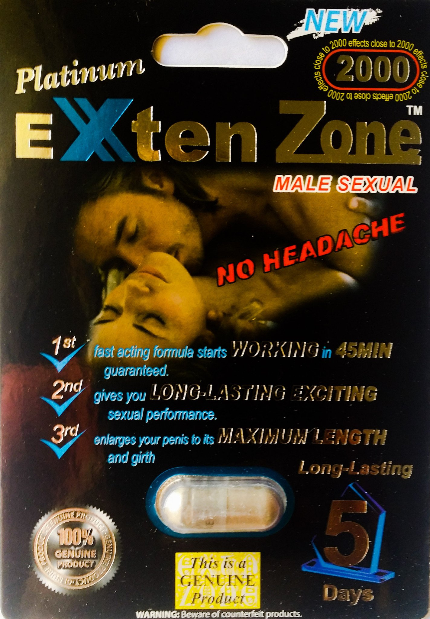 Exten Zone Male Sexual Enhancement Pills Platinum 2000 1 Pack