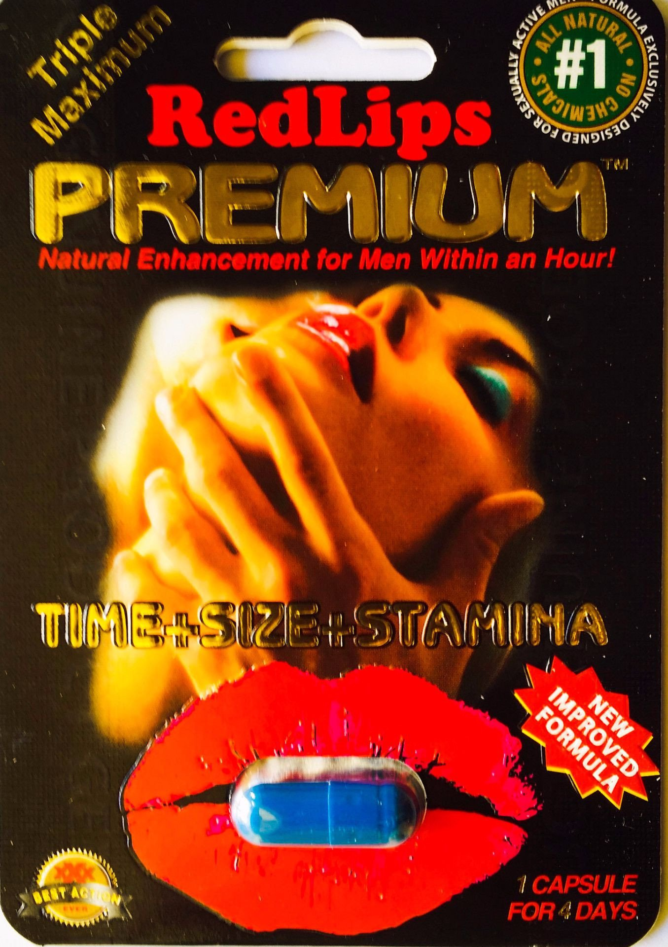 Red Lips Premium 1250mg Triple Maximum Genuine Natural Enahncement for Men 1 Pill